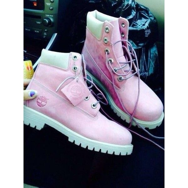 Shoes: timberlands boots pink pastel ❤ liked on Polyvore featuring shoes, boots, pastel pink shoes, pink boots, pastel shoes and pink shoes