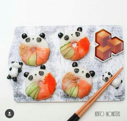 Cute panda rice balls
