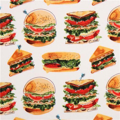 white hamburger Fast Food fabric Robert Kaufman Let's Do Lunch