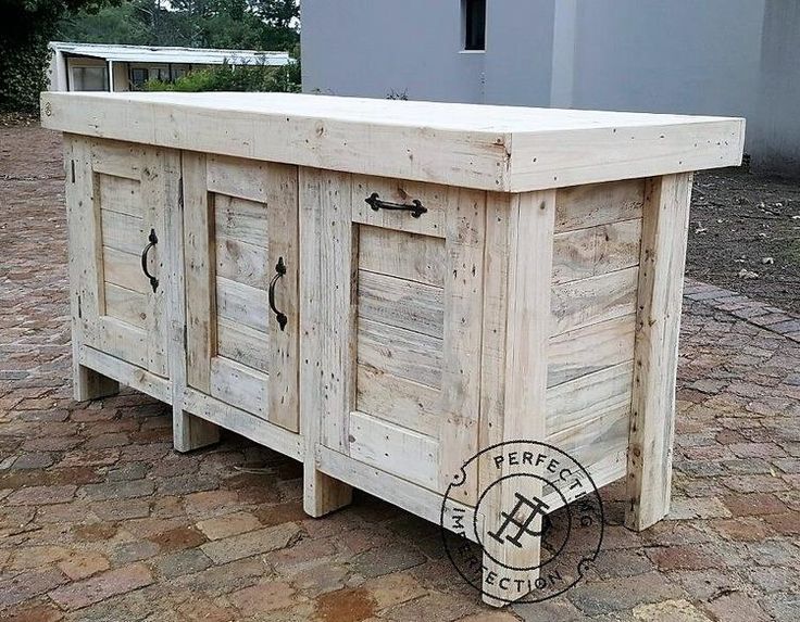 It is another idea to create the reclaimed wood pallet Kitchen Island for the people who need storage space which is totally covered. It is not huge in size and is perfect for the kitchen with less space, if the area is spacious; then 2 of them can be created.