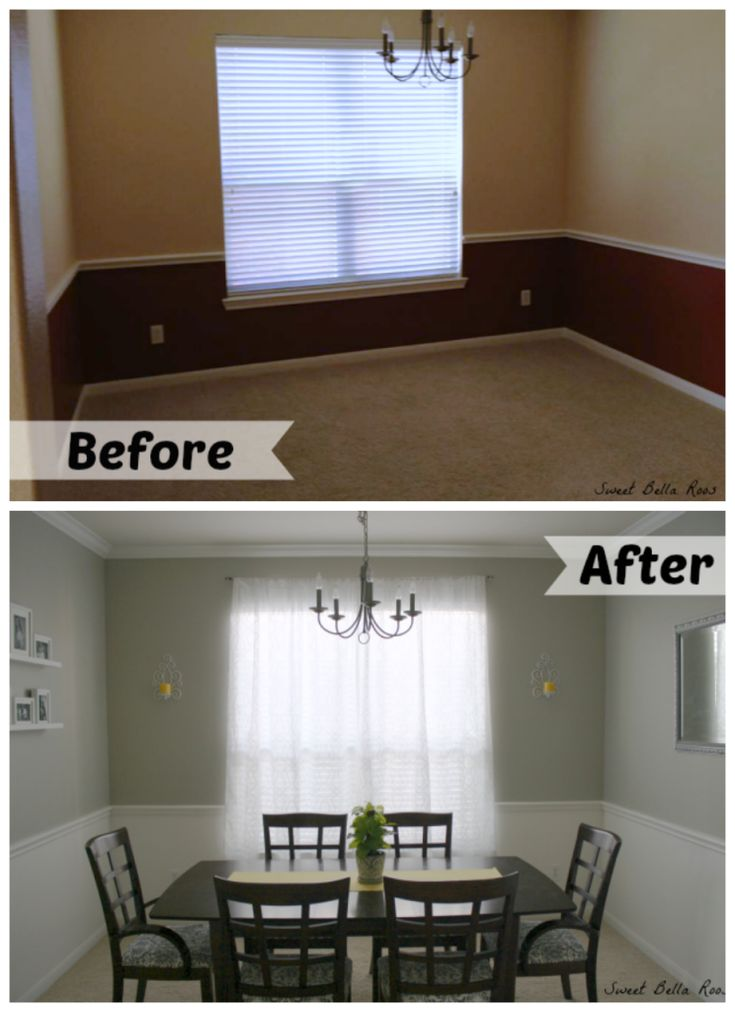 Dining room makeover before after paint colors for Room makeover