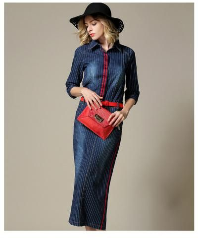 Denim Midi Dress with a Flash of Red and Stripes