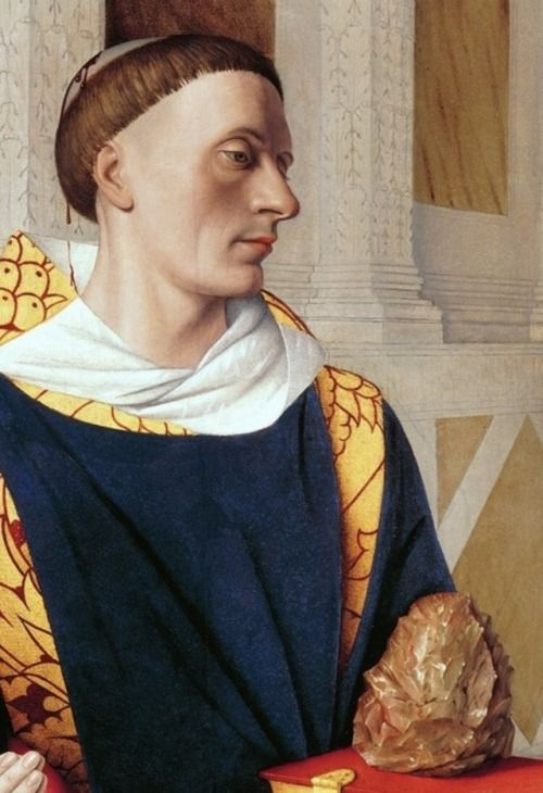 Jean Fouquet's diptych from the Collegiate Church of Notre-Dame in Melun: left panel, featuring a portrait of the donor Étienne Chevalier and  a representation of Saint Stephen, detail, c. 1455, Gemäldegalerie, Berlin