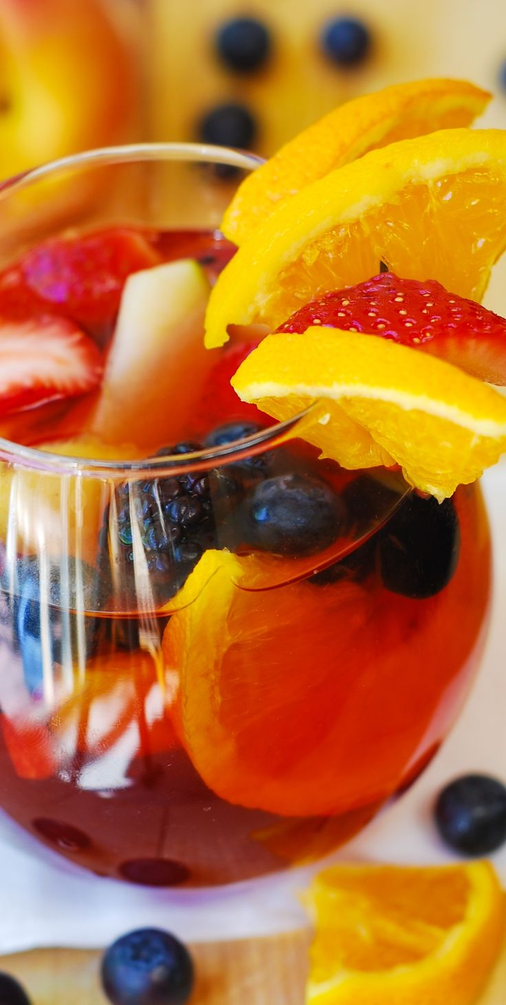 Addictive Red Sangria with Mixed Berries – a light and fruity cocktail drink for the Summer pool parties and cook-outs! Lots of flavors: Strawberries, blueberries, blackberries, oranges, and lemon.
