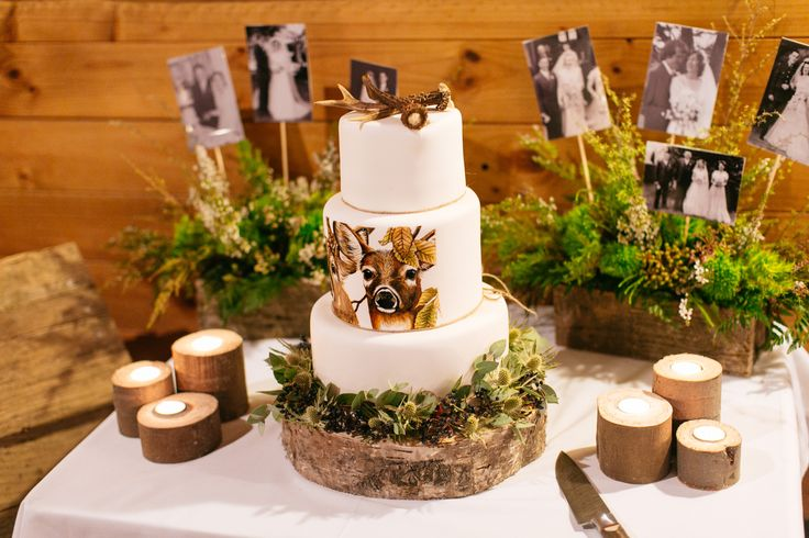 Hand Painted white tailed deer wedding cake made by Sweet Deer Hand-Painted Cakes     http://sweetdeer.co.nz/  photo by swift & click