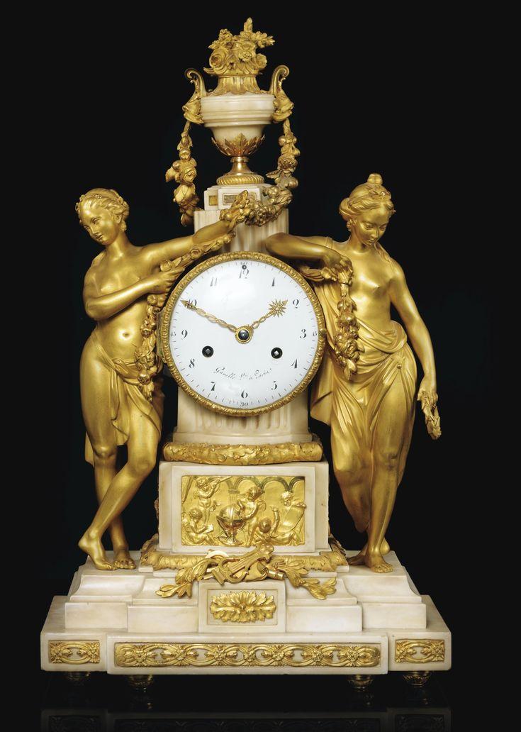 Pendule En Marbre Blanc Et Bronze Dor 233 D 233 Poque Louis Xvi