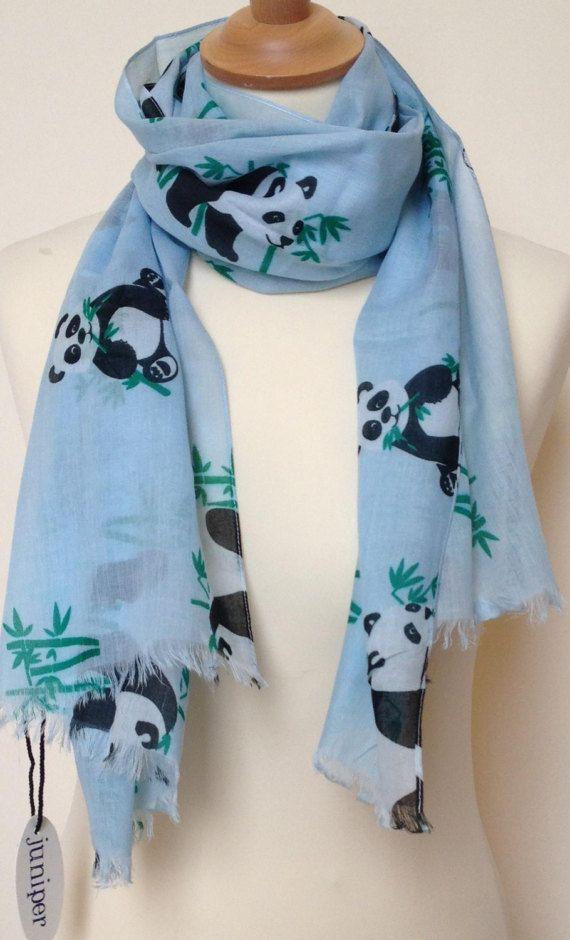 Panda scarf  women's panda print scarf  panda wrap