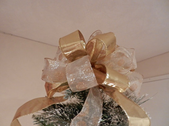 Large  Christmas Tree topper bow gold lame' by creativelycarole, $30.00