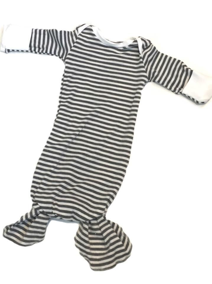 Grey stripe knotted layette - colour trim options