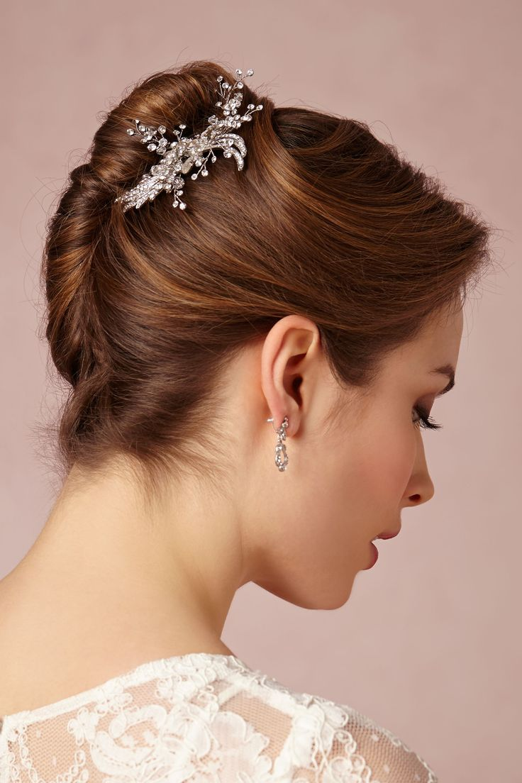 fabulous french twist and bridal bling! #wedding #hairstyle