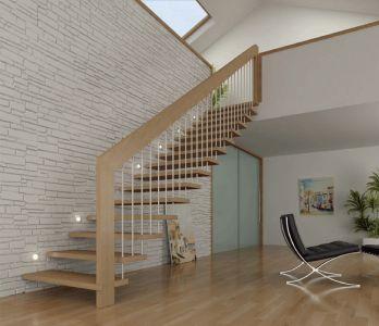 Escaleras de estructura de madera, con baranda de una sola pieza y varillas de acero.                                 MVC arquitecta