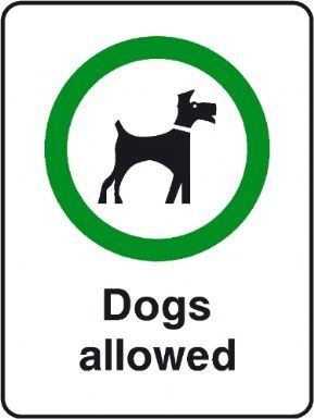 Dogs Allowed playground safety sign