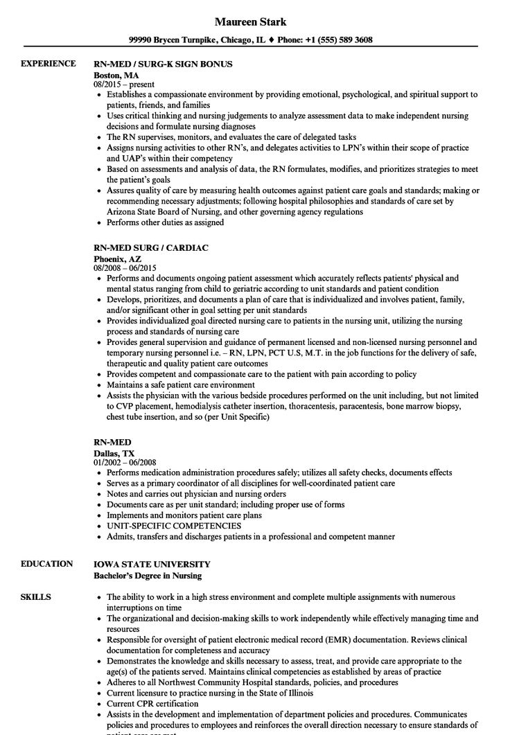 Med Surg Resume Sample in 2020 Resume examples, Manager