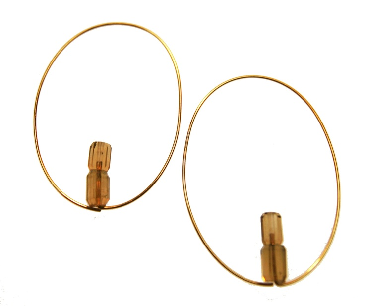 Melissa McArthur Jewellery Cognac Quartz Sheo Earing in 22ct Gold Vermeil