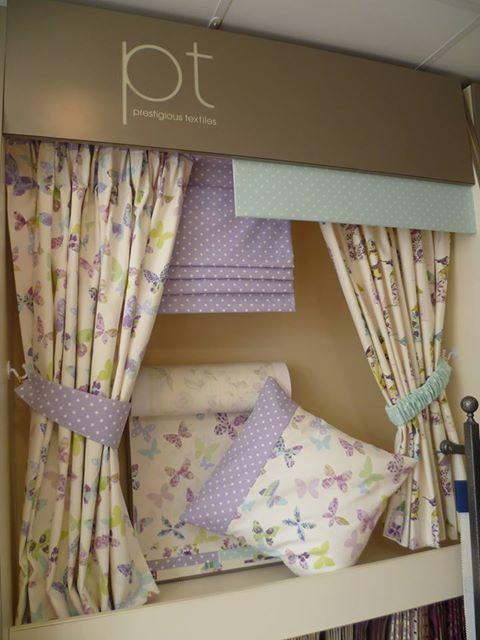 A & D Curtains pretty display featuring our Butterfly Gardens collection... www.prestigious.co.uk/collections/butterfly-gardens