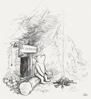 'Did you ever stop to think and forget to start again?' - Winnie the Pooh by Shepard 1928