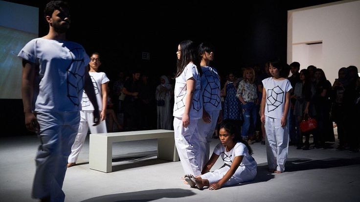 """In conjunction with our Guggenheim Abu Dhabi exhibition #TheCreativeAct, artist Susan Hefuna developed a dance performance in which student performers navigated the gallery space as though it were a city street. Hefuna describes part of the rehearsal process, which took place at an actual crosswalk in Abu Dhabi: """"I think it was very interesting for them to rehearse several times on the street, to actually feel it in their bodies interacting with each other as a group, and at the same time…"""