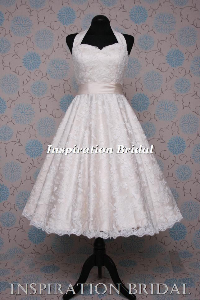 1552 short 50s 60s wedding dresses tea length knee lace halterneck champange