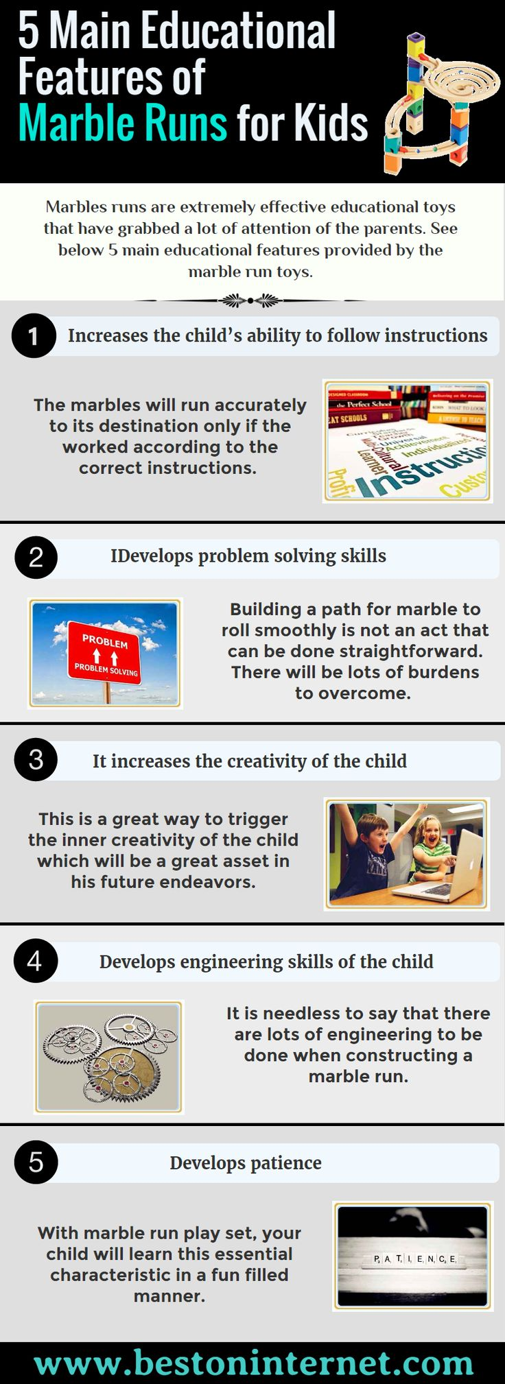 #Marbleruns are very effective #educational toys for your kids. If you are thinking to buy Marbles runs toys, so firstly, watch this infographic, Best 5 Educational Reasons of Buying Marble Runs for Kids. http://www.bestoninternet.com/toy-games/building-toys/marble-run-toy-set-kids/
