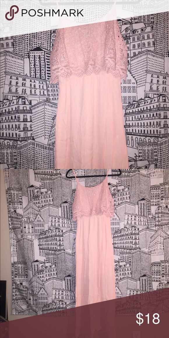 Pink Maxi Dress Delicate full length spring dress with lace detail on the bust. Francesca's Collections Dresses Maxi