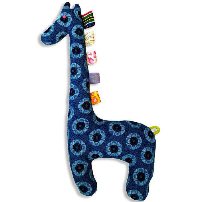 Turquoise Shweshwe Giraffe Toy - Utique 100% cotton shweshwe fabric Machine washable Safe to chew and soothe teething gums. Giraffe toy measures: 30cm x 13cm