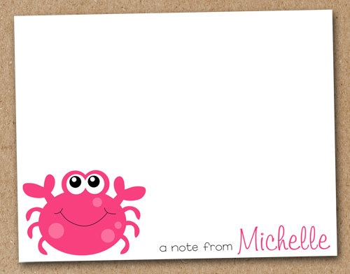 Crab Card Note Cards Personalized set of 8 by Luv2ScrapForU #teampinterestCards Signs Book, Cards Ideas, Cards Note, Cards Personalized, Greeting Cards, Note Cards, Crabs Cards