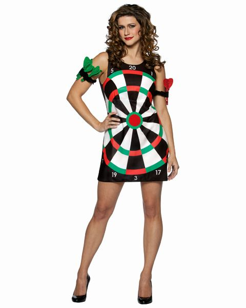 A dart board is a really cool and unique costume idea and this particular outfit looks awesome.