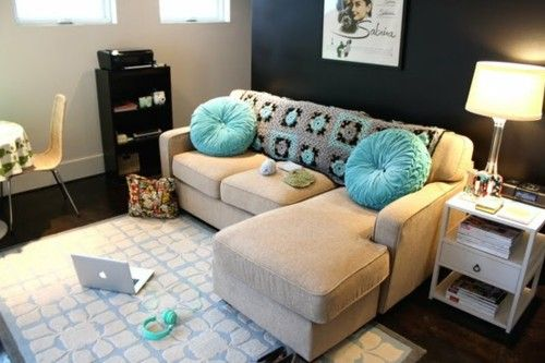 I don't love the granny throw, but the colors are great and the whole place is so cozy and cute.