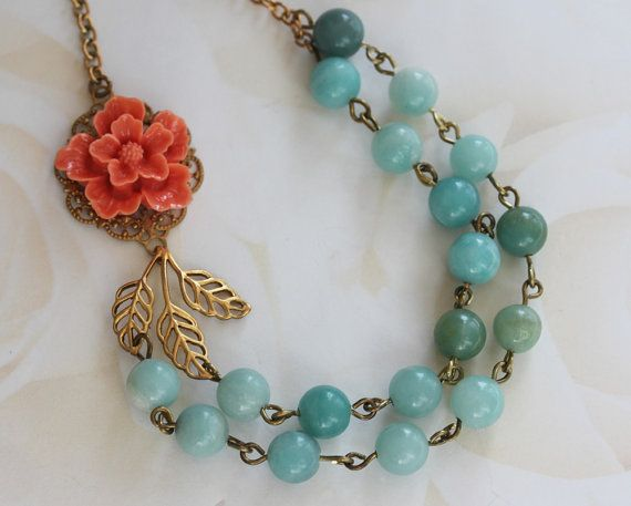 Bead Necklace Amazonite Jewelry Coral Flower Necklace by madebymoe, $44.00