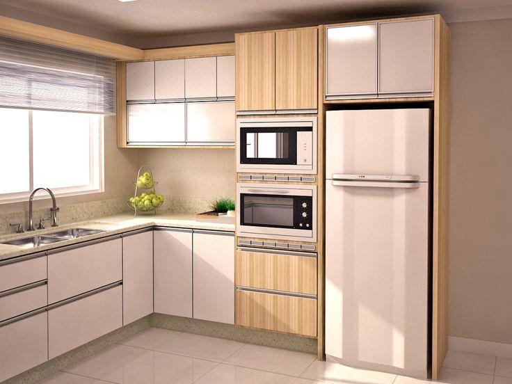COZINHA  Duas pias, cores claras, torre para eletrodomésticos, armários altos até o teto