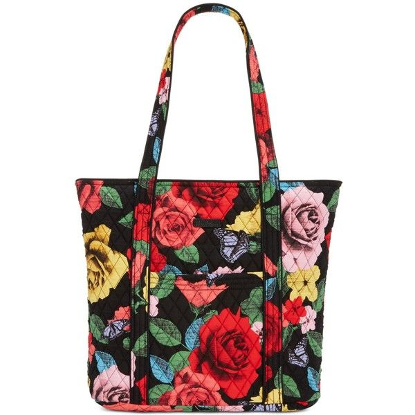 Vera Bradley Vera 2.0 Tote ($86) ❤ liked on Polyvore featuring bags, handbags, tote bags, havana rose, vera bradley tote, white tote, white tote purse, tote bag purse and print tote