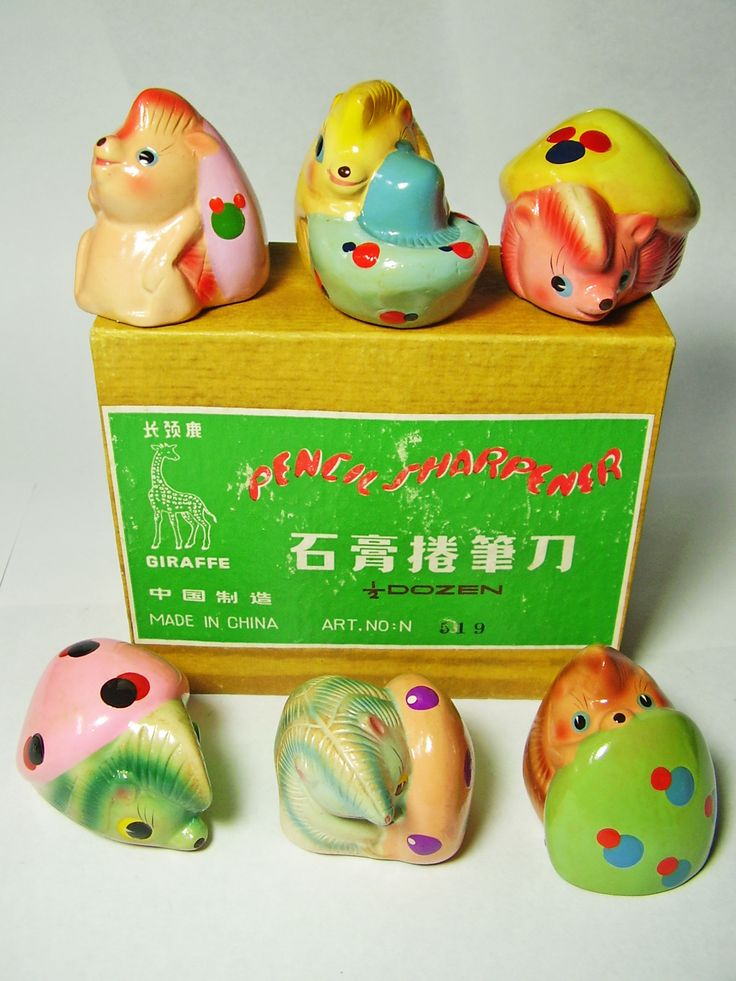 FOR SALE ! 6 hedgehogs with mushrooms VINTAGE Chinese CHALKWARE clay CERAMIC figural PENCIL SHARPENERS ! http://www.ebay.com/sch/mypinkturtle/m.html?_ipg=50&_sop=12&_rdc=1
