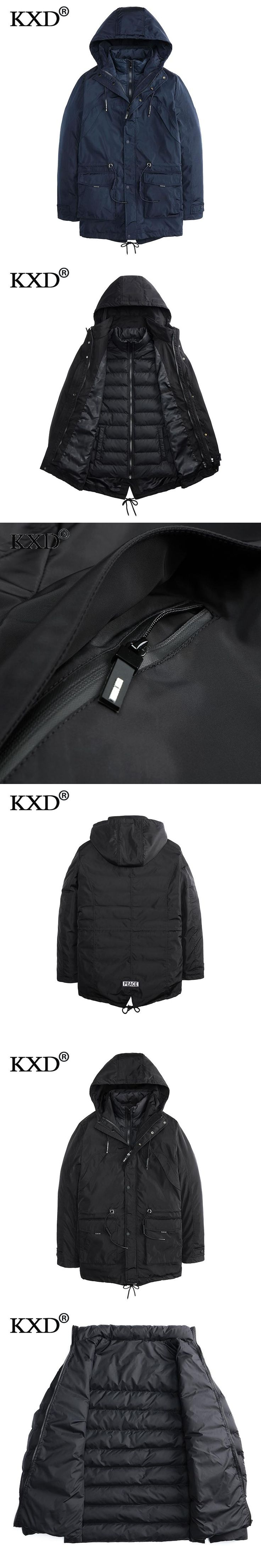 KXD 2017 New Fashion Men's Clothing High Quality Casual Windproof Winter Warm Jackets And Coats For Men  Parka Hombre 16M8654