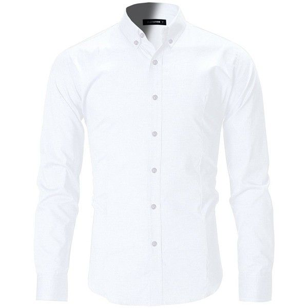 FLATSEVEN Men's Slim Fit Casual Oxford Button Down Shirt ($33) ❤ liked on Polyvore featuring men's fashion, men's clothing, men's shirts, men's casual shirts, mens casual button up shirts, men's oxford button down shirts, mens slim fit button up shirts and mens oxford shirts