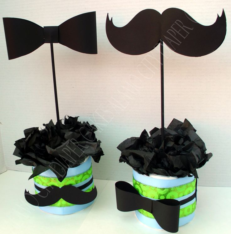 Mustache and Bow Tie Centerpieces