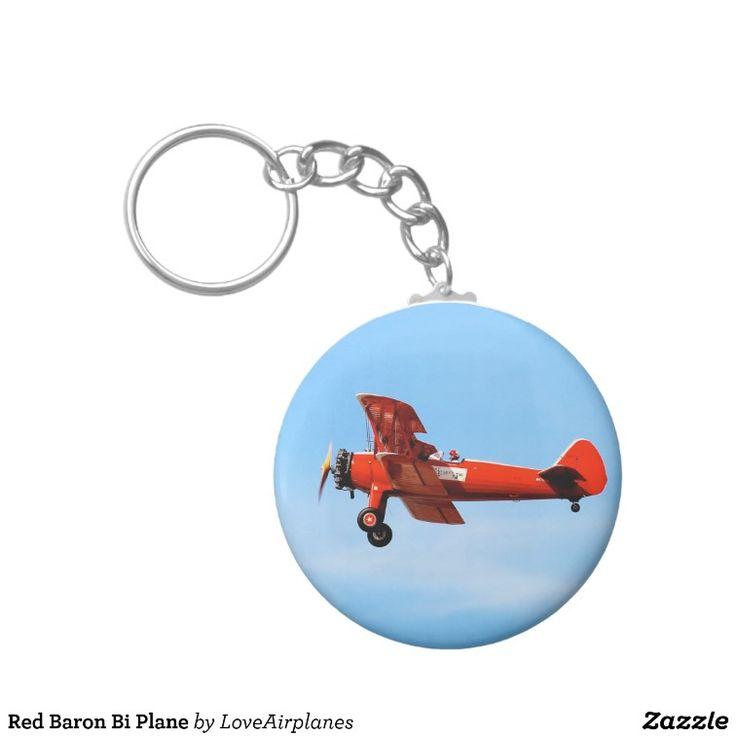 Red Baron Bi Plane Basic Round Button Key Ring