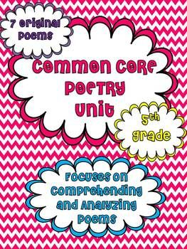 Common Core Poetry Unit for 5th Grade: Printables, Posters, Essential Questions, Close Reading Strategies and SEVEN original poems with text dependent questions...all aligned to CCSS!