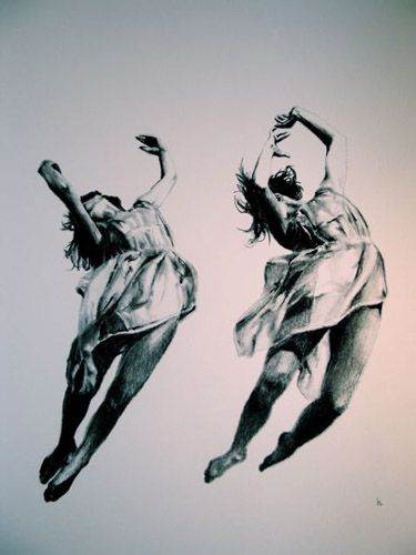 """421-066   Heather Millar, Leap of Faith,  charcoal on paper, 8""""x10"""". $400 matted"""