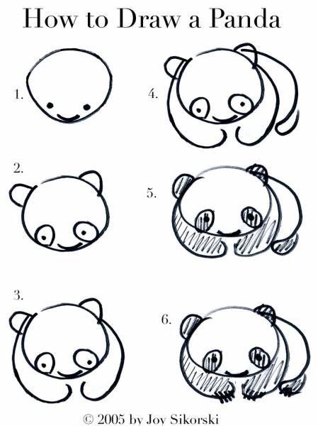 Les 25 meilleures id es de la cat gorie comment dessiner un panda sur pinterest doodle art - Dessin facile a faire etape par etape ...