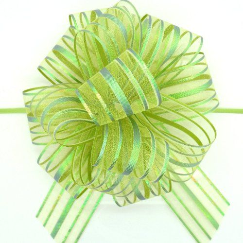 """From 1.76 Organza Pull Bow (x2) Lime Green Large 6"""" Pom Pom Bow"""