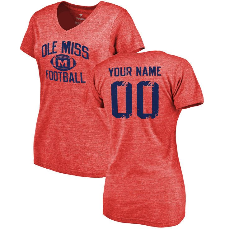 Ole Miss Rebels Women's Personalized Distressed Football Tri-Blend V-Neck T-Shirt - Red - $42.99