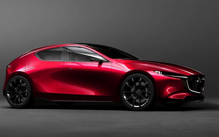 Download wallpapers Mazda 3, 2019, Mazda KAI, 4k, new design, Japanese cars, red hatchback, Mazda