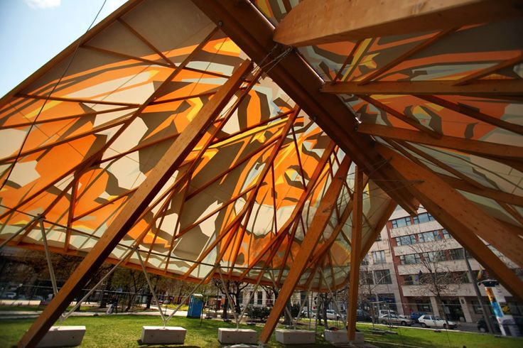 hello wood builds budapest butterfly pavilion for spring festival