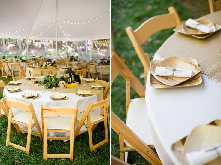 burlap table runners and bamboo plates : disposable plates wedding - Pezcame.Com