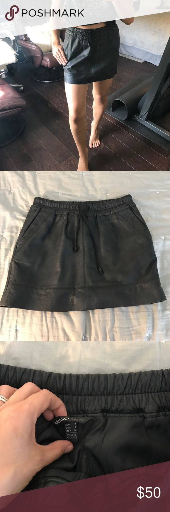 Mango 100% leather skirt Real leather mini skirt. Can be dressed up or worn casual with sneakers and tshirt. Super versatile and cute! Mango Skirts Mini