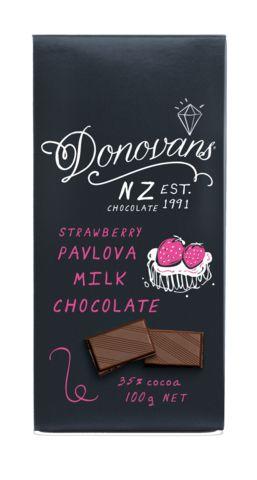 Strawberry Pavlova Milk Chocolate Block 100g