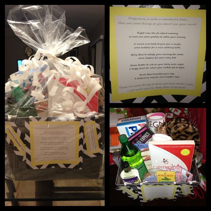 """I made this for my Bestie! She just recently announced that she's preggo & I put this Pregnancy Survival Kit together for her! It says:  """"Pregnancy is such a wonderful time, here are some things so you don't lose your mind:  Right now it's all about mommy, so here are some goodies to settle your tummy. A movie and book to give you a laugh, some bubbles for a nice soothing bath. Belly Bars to satisfy your cravings for sweet, some slippers for your achy feet. Cocoa Butter to rub on your belly…"""