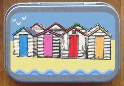 Beach Hut Sand Dominoes Tin from AJP Creations.