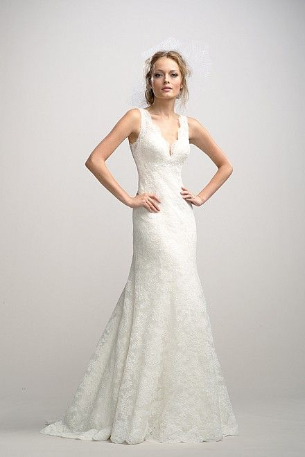 Watters CELINE GOWN STYLE 2098B Ivory lace v-neck fit and ...