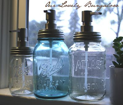 Mason jar soap dispenser.